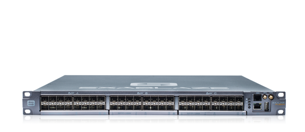 Image of 1 rack unit ExaLINK Fusion switch with 3 line cards, populated to 48 10 GbE ports.
