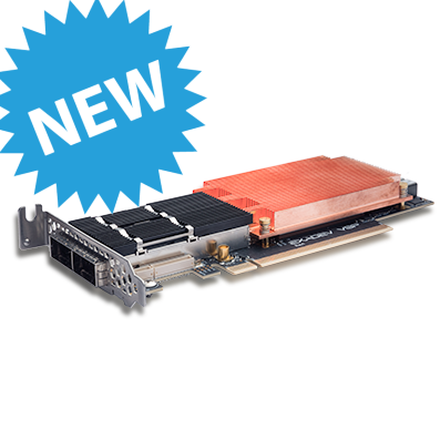 Photo of an ExaNIC V9P FPGA application device